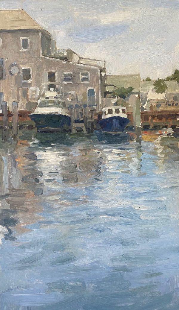 plein air oil painting of harbour